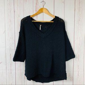 Free People Oversized Chunky Knit Black Sweater